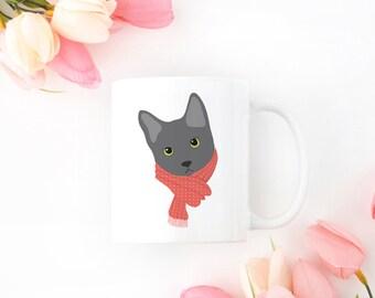 Personalized Gray Cat Mug, Gray Cat Coffee Mug, Cat Mug, Cat with Scarf Coffee Mug, Gray Cat Coffee Cup, Gray Cat Cup, Cat Coffee Mug, Cat