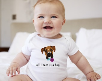 Personalized Boxer Baby One-piece, Boxer Baby Bodysuit, Custom Dog One-piece, Boxer Bodysuit, Dog Infant Bodysuit, Dog Baby Bodysuit, Baby