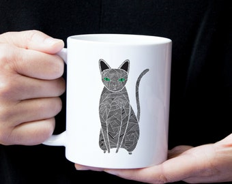 Personalized Black Cat Mug, Black Cat Coffee Mug, Cat Mug, Cat Gifts, Custom Cat Mug, Black Cat Coffee Cup, Black Cat Cup, Cat Coffee Mug