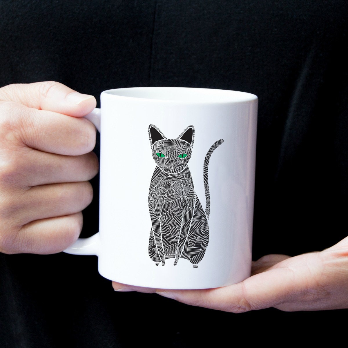 Personalized Black Cat Mug Black Cat Coffee Mug Cat Mug Cat Gifts
