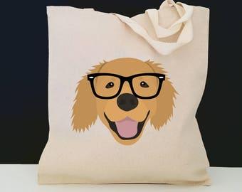 Personalized Golden Retriever Tote Bag (FREE SHIPPING), 100% Cotton Canvas Dog Tote Bag, Golden Retriever Tote, Dog Totes, Golden Retriever