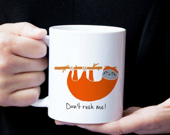 Personalized Sloth Mug, Sloth Coffee Mug, Sloth Mug, Sloth Mugs, Hanging Sloth Mug, Sloth Coffee Cup, Sloth Gifts, Sloth Mug (Orange Red)