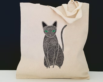 Personalized Black Cat Tote Bag (FREE SHIPPING), 100% Cotton Canvas Cat Tote Bag, Black Cat Tote Bag, Cat Totes, Cat, Cat Gift, Black Cat