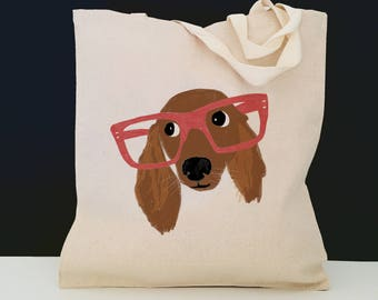 Personalized Long Haired Dachshund Tote Bag (FREE SHIPPING), 100% Cotton Canvas Dachshund Tote Bag, Dachshund Tote Bag, Dog, Dachshund Gift