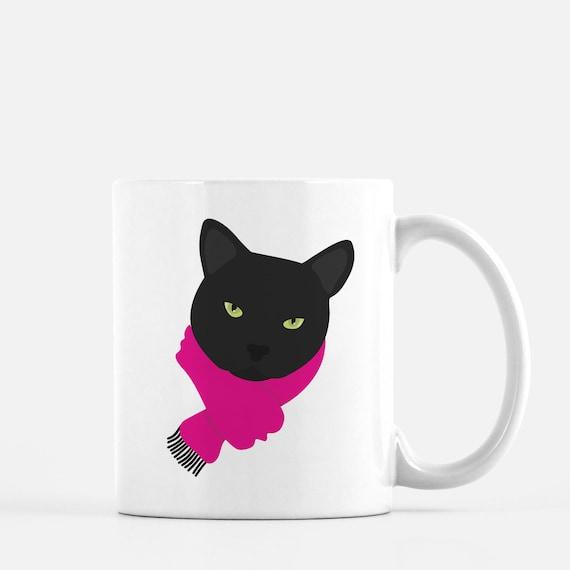 Personalized Black Cat Mug Black Cat Coffee Mug Cat Mug Cat Etsy
