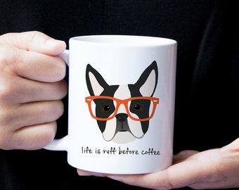 Personalized Boston Terrier Mug, Boston Terrier Coffee Mug, Boston Terrier Mug, Boston Terrier with Glasses Mug, Boston Terrier Coffee Cup
