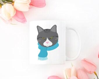 Personalized Gray Tabby Cat Mug, Gray Cat Coffee Mug, Cat Mug, Gray Cat with Scarf Coffee Mug, Gray Tabby Cat Coffee Cup, Grumpy Cat Mug,Cat