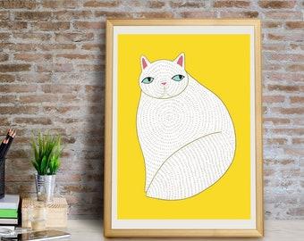 White Cat Art Print, Cat Wall Art, White Cat Wall Art, Cat Decor, Cat Giclée Print, Cat Home Decor, Fat Cat, Cat Gift, Cats, Cat Art Print