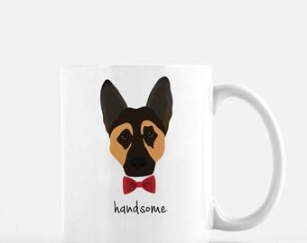 Personalized German Shepherd Mug, German Shepherd Coffee Mug, German Shepherd with Bow Tie Mug, Dog Mug, Customized German Shepherd Mug, Dog