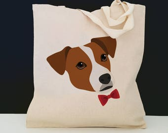 Personalized Jack Russell Terrier Tote Bag (FREE SHIPPING), 100% Cotton Canvas Dog Tote Bag, Custom Dog Tote, Jack Russell Terrier Tote Bag