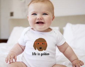 Personalized Goldendoodle Baby One-piece, Goldendoodle Baby Bodysuit, Custom Dog One-piece, Custom Goldendoodle Bodysuit, Dog Baby Bodysuit