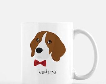 Personalized Beagle Mug, Beagle Coffee Mug, Beagle with Bow Tie Mug, Dog Mug, Beagle Coffee Cup, Custom Beagle Mug, Customized Beagle Mug