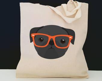Personalized Pug with Glasses Tote Bag (FREE SHIPPING), 100% Cotton Canvas Dog Tote Bag, Pug Tote, Dog Totes, Pug Gift, Black Pug Tote Bag