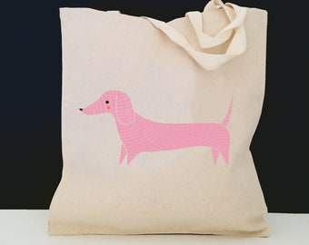 Personalized Dachshund Tote Bag (FREE SHIPPING), 100% Cotton Canvas Dachshund Tote Bag, Dachshund Tote Bag, Dachshund Totes, Dachshund Gift