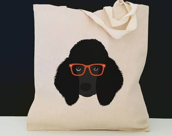 Personalized Poodle Tote Bag (FREE SHIPPING), 100% Cotton Canvas Dog Tote Bag, Custom Dog Tote, Black Poodle Gifts, Poodle, Poodle Tote Bag