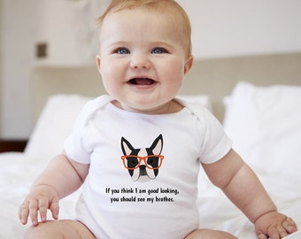 Personalized Boston Terrier Baby One-piece, Boston Terrier Baby Bodysuit, Custom Dog One-piece, Custom Boston Terrier Bodysuit, Dog Bodysuit