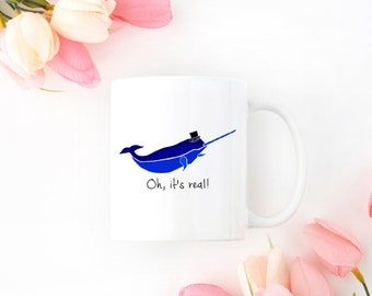 Personalized Narwhal Mug, Narwhal Coffee Mug, Narwhal Mug, Narwhals, Narwhal Cup, Narwhal Gift, Narwhal, Narwhal with Hat Mug (Royal Blue)