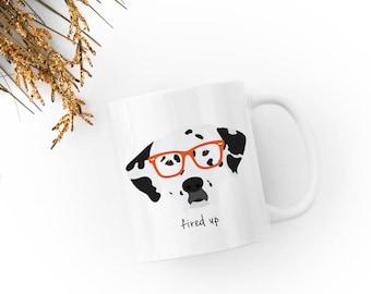 Personalized Dalmatian Mug, Customized Dalmatian Gift, Dalmatian with Glasses Mug, Custom Dog Mug, Dalmatian Mug, Dog, Dalmatian Coffee Mug