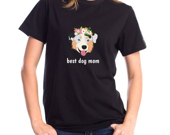 Personalized Australian Shepherd Short-Sleeve Unisex T-Shirt, Australian Shepherd T-shirt, Custom Dog T-shirt, Best Dog Mom Ever T-shirt