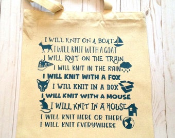 I will Knit on a Boat TOTE BAG.  Knitting bag, Knitting Tote, Knitting Totebag, I will knit everywhere.