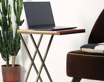 Side Table, Laptop Table, Wooden Side Table, Walnut Venner Side Table ,  Modern Computer Table, Wooden Notebook Table, Walnut Side Table