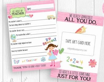 All About My Teacher INSTANT Download | Teacher Appreciation Printable Download | Teacher Gifts | Teacher Thank You DIGITAL Download