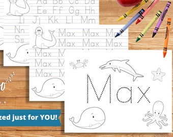 Personalized Printable | Kindergarten Coloring Pages | Homeschool Printable | Letter Writing Paper | Handwriting Worksheet DIGITAL