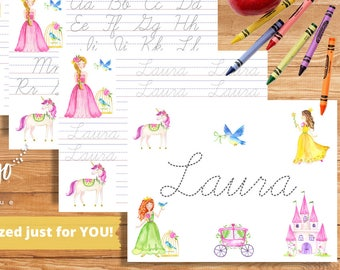 School Supplies Cursive Handwriting Practice | 2nd Grade Name Practice | Homeschooling Princess Pintable | Tracing Letter Alphabet Worksheet