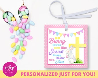 Personalized christian easter tag he is risen party favor personalized religious easter favor tag no bunny loves you like jesus party favor tags easter gift tags christian easter tag negle Choice Image