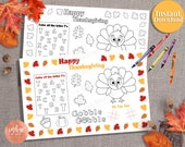 Thanksgiving Placemat Kids Activity | Kids Thanksgiving Game INSTANT DOWNLOAD