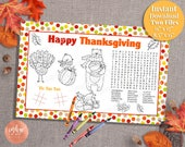 Kids Thanksgiving Activity Placemat | Thanksgiving Printables for Kids | Thanksgiving Fun Kids Activity Page Kids Placemat INSTANT DOWNLOAD