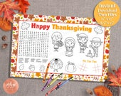 Thanksgiving Activity Placemat | Thanksgiving Game Word Search | Kids Placemat | Kids Thanksgiving Activity Page INSTANT DOWNLOAD