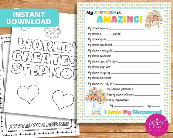 All About My Stepmom Kid Questionnaire Mothers Day Gift