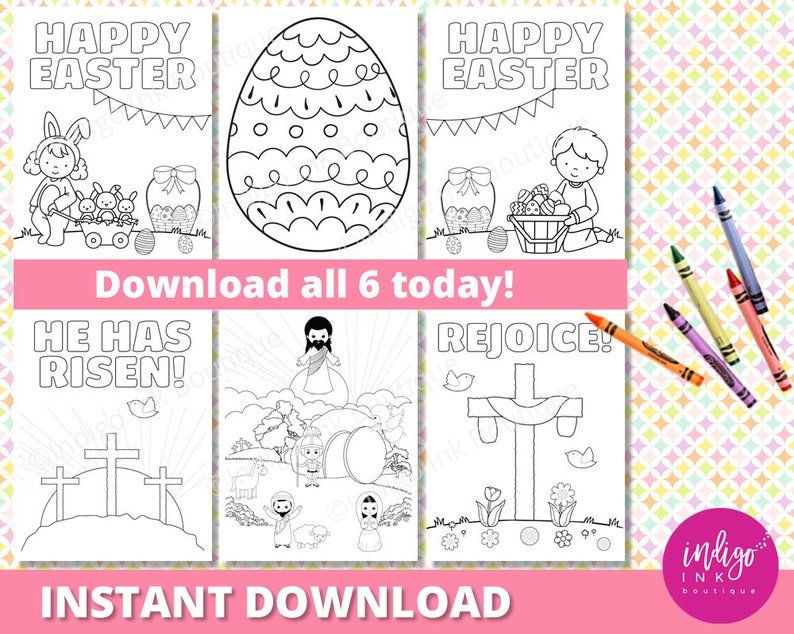 Easter Religious Coloring Sheets Easter Christian Coloring Etsy