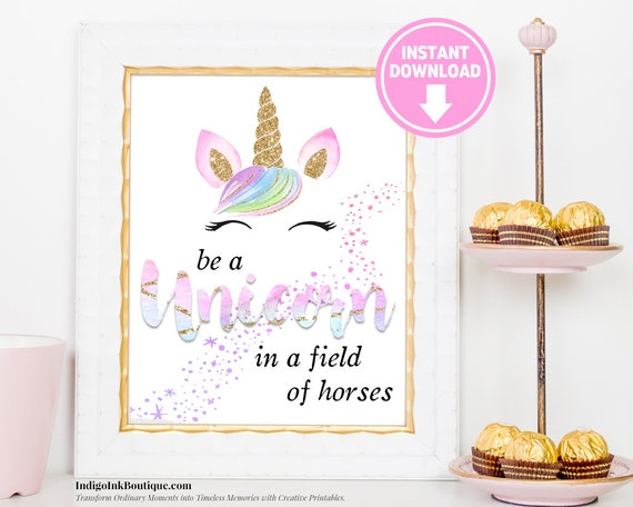 image relating to Be a Unicorn in a Field of Horses Free Printable named Be a Unicorn within just a Sector of Horses Immediate Obtain Rainbow