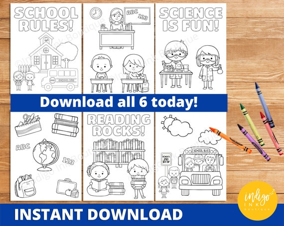Back To School Coloring Pages INSTANT DOWNLOAD First Day Of Etsy