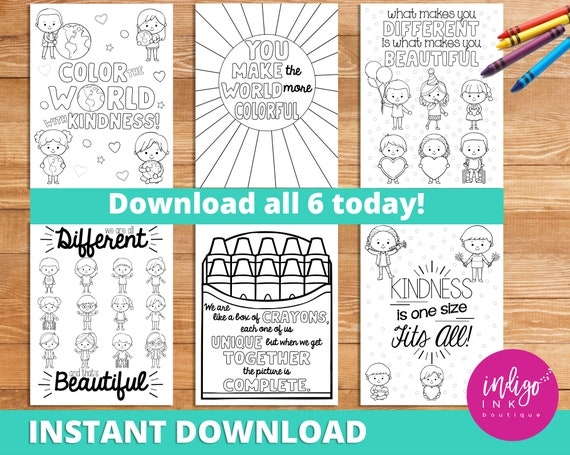 Kindness Coloring Pages INSTANT DOWNLOAD Affirmations For Kids Teaching  Resources Inspirational Quotes Coloring For Kids Learning Tools By Indigo  Ink Boutique Catch My Party