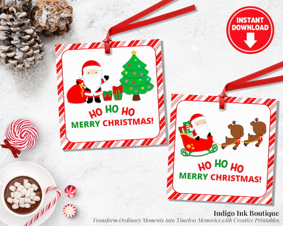 Christmas Gift Tags For Kids.Santa Favor Tags Santa Claus Tags For Kids Christmas