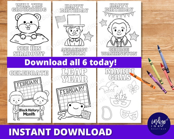 February Coloring Pages for Kids | Groundhog Day Coloring Sheets |  Presidents Day Kids Coloring | Mardi Gras Coloring INSTANT DOWNLOAD
