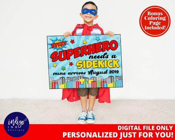 Personalised custom boys superhero new baby pregnancy announcement big brother