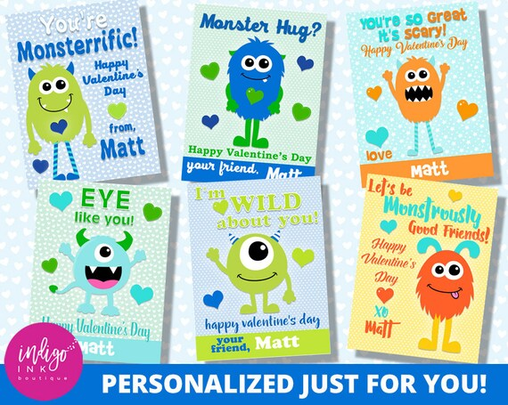 Personalized Monster Valentines Day Card Kids Valentines Cards