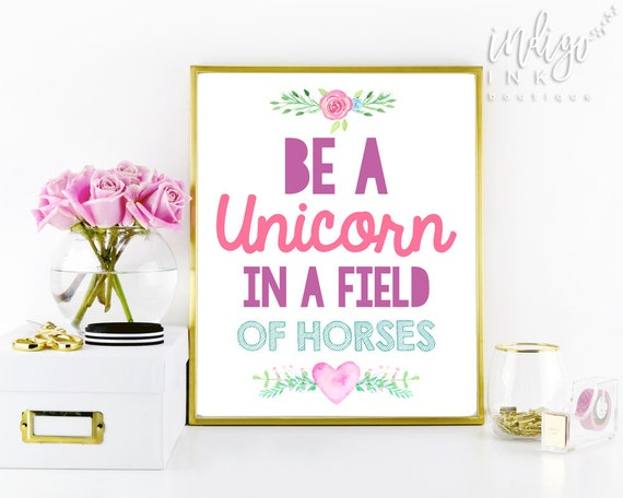 This is an image of Terrible Be a Unicorn in a Field of Horses Free Printable