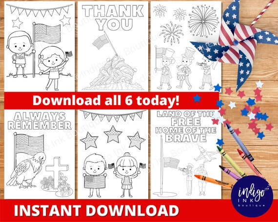 Memorial Day Coloring Pages INSTANT DOWNLOAD  Patriotic