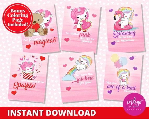 photo regarding Printable Kid Valentine Cards named Unicorn Valentines Working day Playing cards Youngsters Valentines Printable