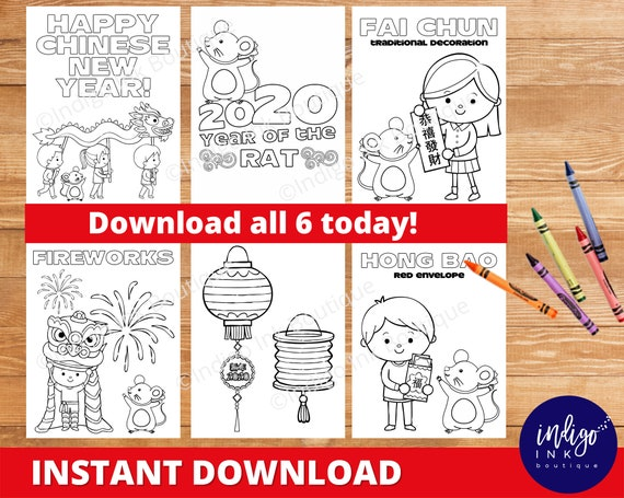 Chinese New Year Coloring Pages Instant Download 2020 Year Of The Rat Coloring Sheets Chinese New Years Printable By Indigo Ink Boutique Catch My Party