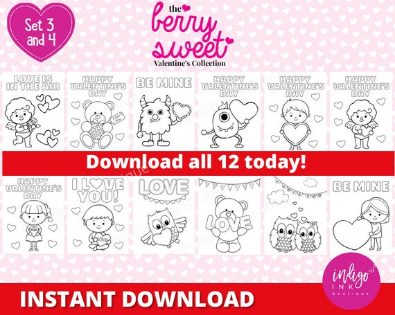 Valentine Coloring Sheets Instant Download Valentine Coloring