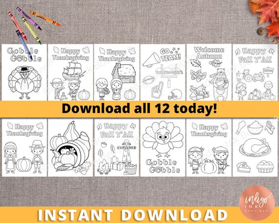 Kids Thanksgiving Coloring Pages Thanksgiving Kids Activity | Etsy