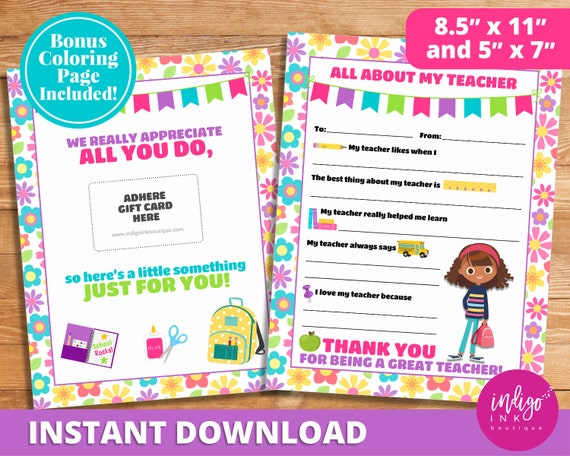 photo about All About My Teacher Free Printable named All More than My Instructor Printable Immediate Obtain Instructor