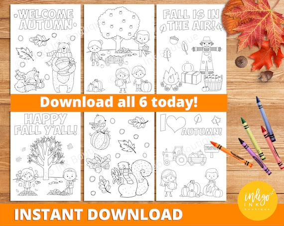 Autumn Coloring Pages INSTANT DOWNLOAD  Fall Coloring Sheets