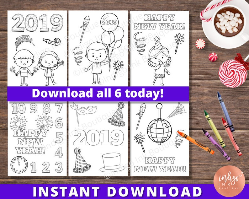 Coloring Pages for Kids New Years Eve Printables for Kids | Etsy